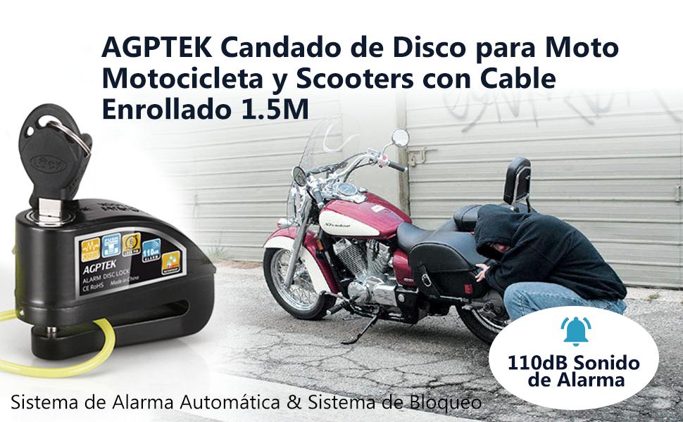AGPTEK Candado de Disco con Alarma Antirrobo Acero 6mm 110DB con Cable Enrollado de 1.6M para Moto Motocicleta, Color Negro+ Verde