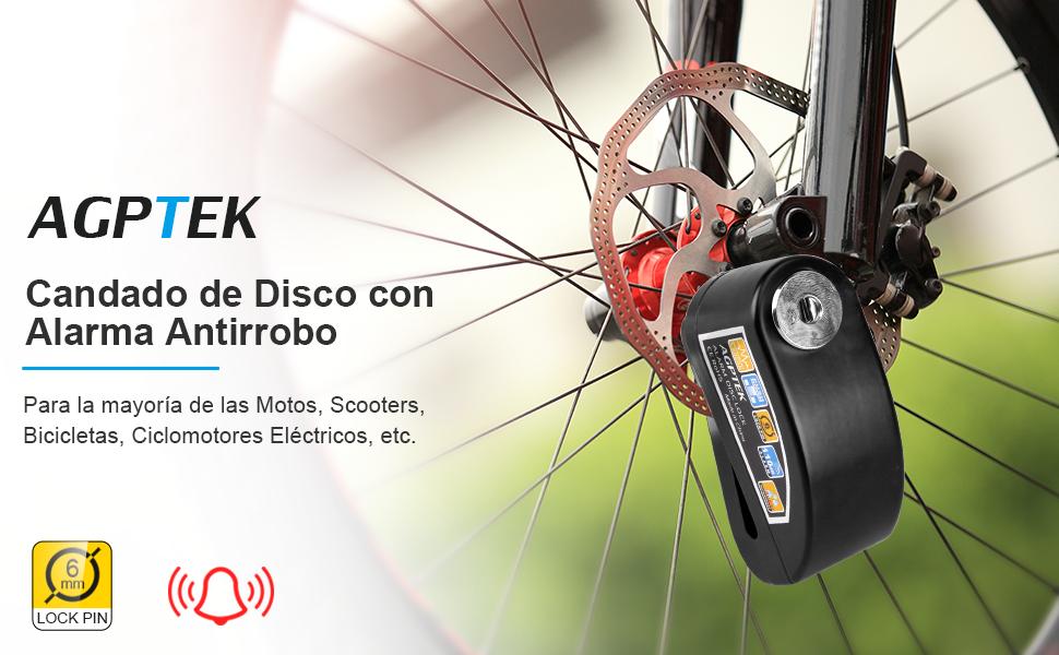 Candado de Disco Moto para con Alarma Antirrobo 110dB ...