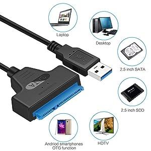 EasyULT USB 3.0 a SATA Cable del Adaptador, Cable Adaptador para ...