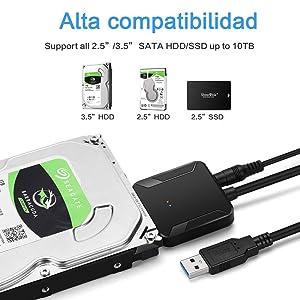 EasyULT Adaptador de USB 3.0 a SATA III, Cable Convertidor de USB ...