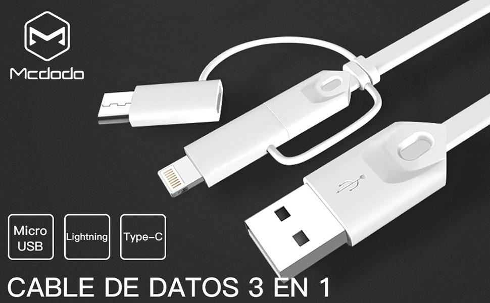 AICase 3 en 1 Cable Multiple,Multi USB Cable de Carga Múltiples USB Cable Cargador,USB Tipo C Micro USB para Phone/Pad/Pod/Manzana/Nexus 6P/ Google ...