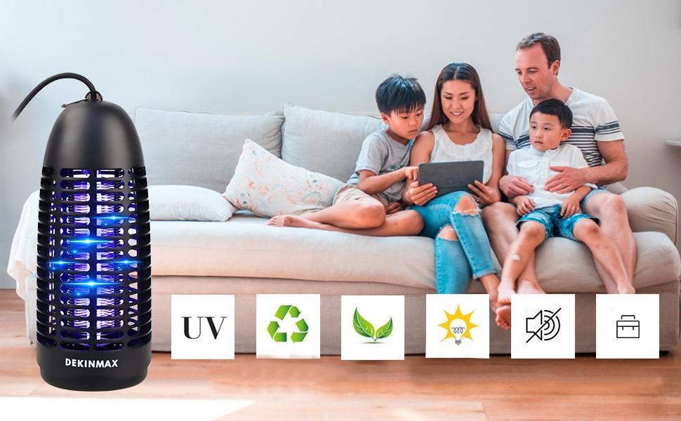 DEKINMAX Matainsectos Eléctrico UV Lámpara Anti Mosquitos contra Mosquitos Polillas Zancudos Moscas y mas Insectos