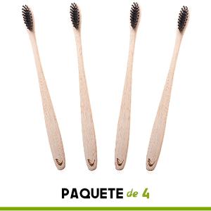 Cepillo de dientes de bambú con cerdas de carbón de TEVRA – Cuidado dental natural para toda la familia | Biodegradable | Cerdas medianas | Libre de ...