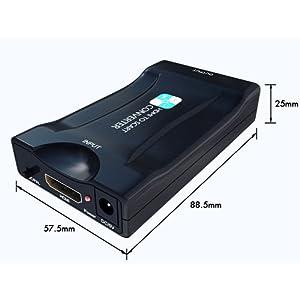 HDMI a SCART Convertidor,PORTHOLIC Adaptador HDMI a Euroconector Entrada HDMI Salida SCART 1080P Vídeo Adaptador para CRT TV, CCTV,Reproductor de DVD,Proyector, PS3, PS4,Nintendo Switch,Xbox: Amazon.es: Electrónica