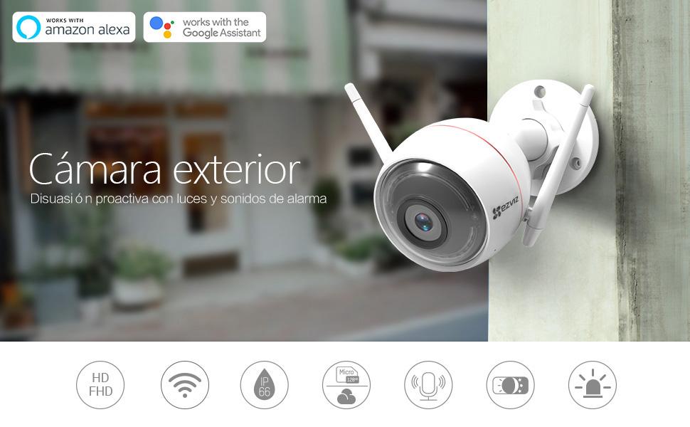 EZVIZ CTQ3W Cámara de vigilancia Exterior 720p Cámara IP Wi-Fi Exterior, visión Nocturna (30m) Luz estroboscópica y Resistente al Exterior, WiFi ...