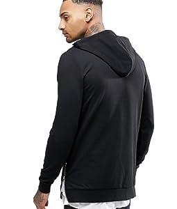 Esta sudadera negra con capucha y cremallera en los laterales es la prenda perfecta para tu look casual. Su tejido de algodón y elastano hacen de ella una ...