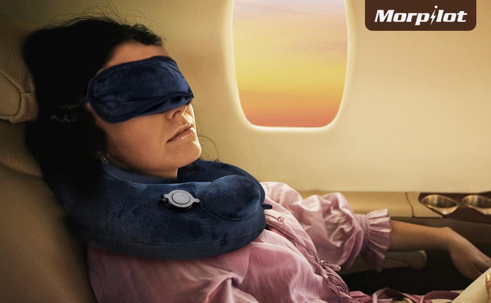 Morpilot almohada de viaje con máscara de ojos, tapones para oidos y bolsa de almacenaniento muy suave, cómodo, práctico y portátil.