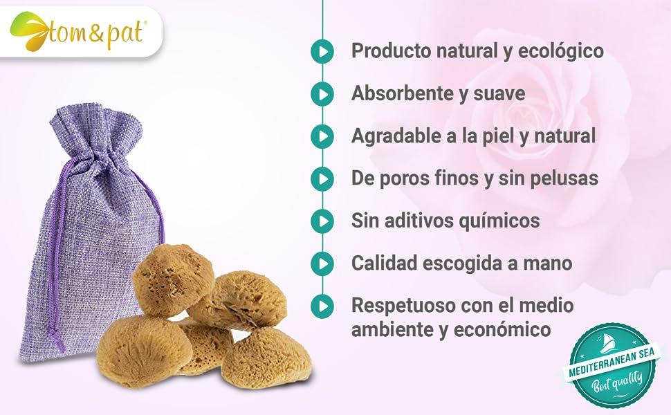 Esponja Menstrual, Juego de 5 en una bolsa de yute, Esponja Natural como alternativa ecológica a los tampones, Poros Finos