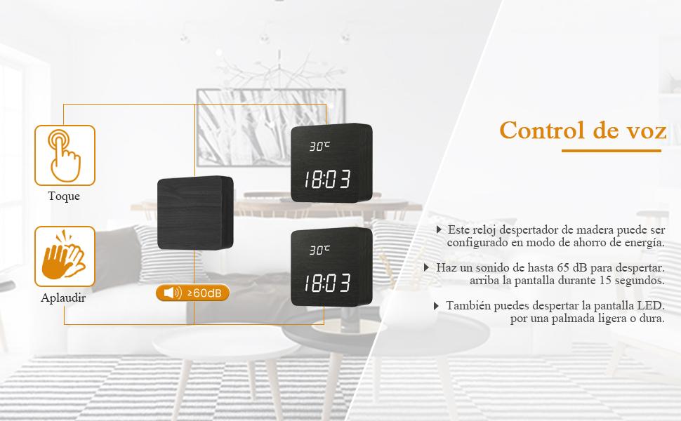 DIGOO Reloj de alarma digital LED de madera con configuración de alarma de 3 grupos, temperatura, hora y fecha, 3 brillo ajustable, control de voz, ...