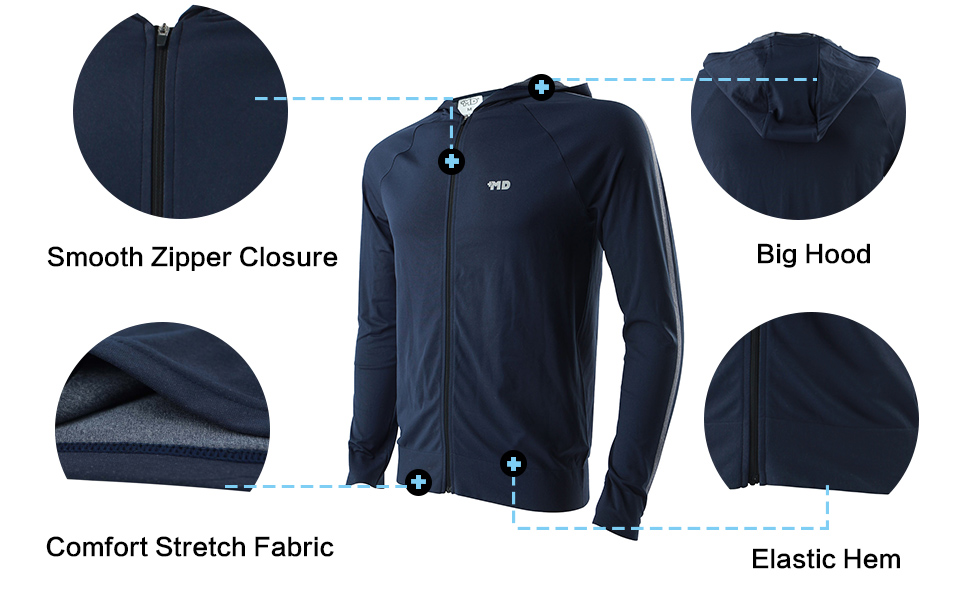 +MD Hombres Chaqueta Deportiva Ligera Ch/ándal Moisture Wicking Running Warm Up Full Zip Hoodie