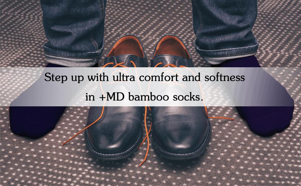 +MD 4 Pares de calcetines tobilleros hombre Confortables Calcetines en Fibra de Bambú Calcetines de deporte Medias