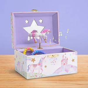 JewelKeeper cofre musical para joyas unicornio y castillo A1328