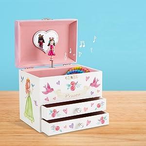 80ae4ef1aea6 JewelKeeper - Cajita Infantil Musical para Joyas con Sirena Bajo el ...