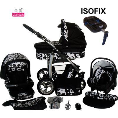 Lux4kids Trío Cochecito 4 in 1 Silla de paseo ruedas giratorias + capazo + silla para coche + ISOFIX + accesorios Dino