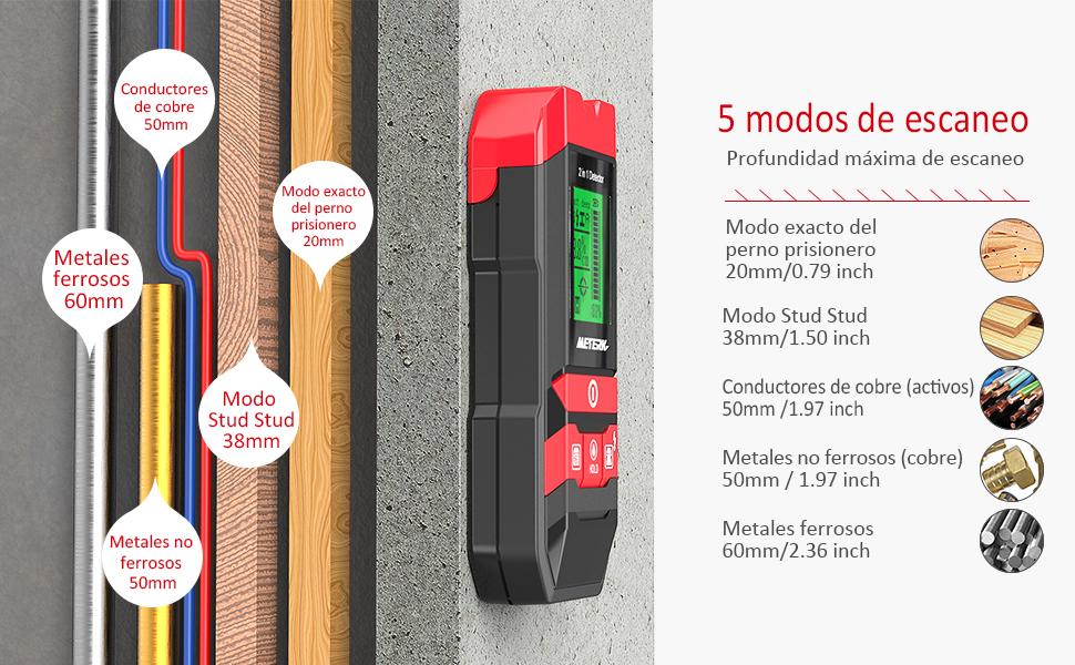 Detector de construcción digital Detector Meterk 2 en 1 Pernos de materiales eléctricos Detección de cables de madera / metal / CA con LED / alarma de ...