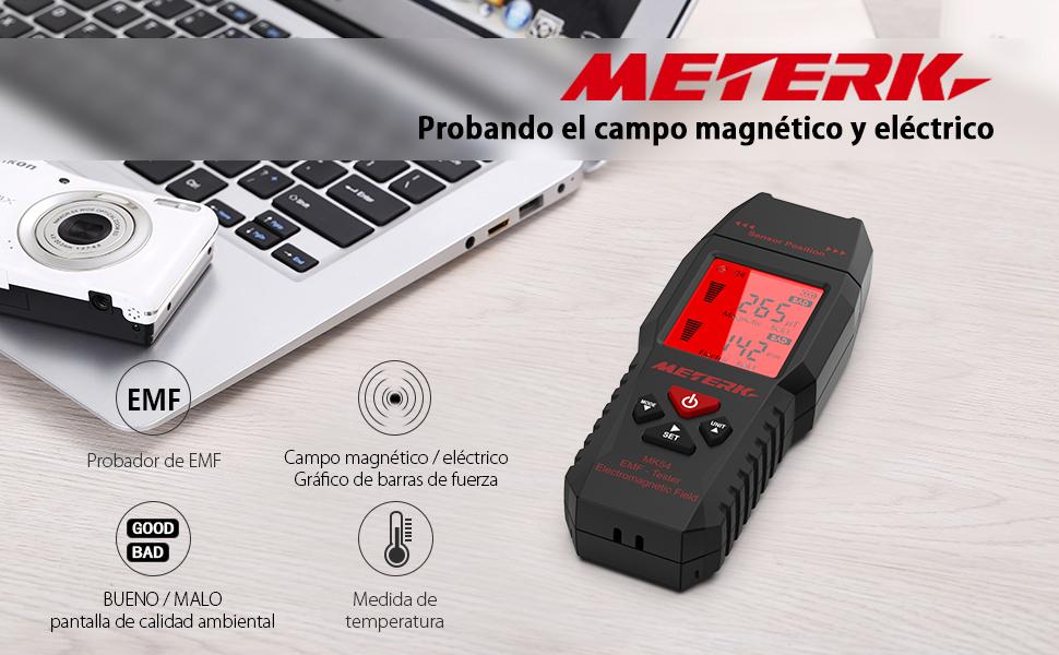 Medidor EMF,Meterk Handheld Mini Digital LCD EMF Detector de Radiación de Campo Electromagnético Dosímetro Tester Counter