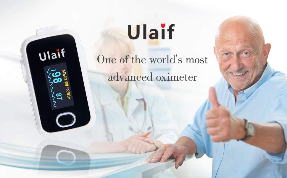 Ulaif Oxímetro Pulsioximetro de Pulso de Dedo Monitor de Saturación de Oxígeno en Cuerda de Sujeción, Aaprobado por la FDA y la CE