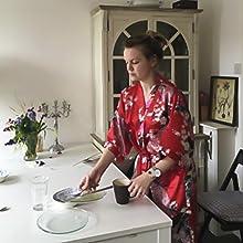 traje de novia de satén yukata corto bata de seda kimono corta ropa de color burdeos bata de kimono