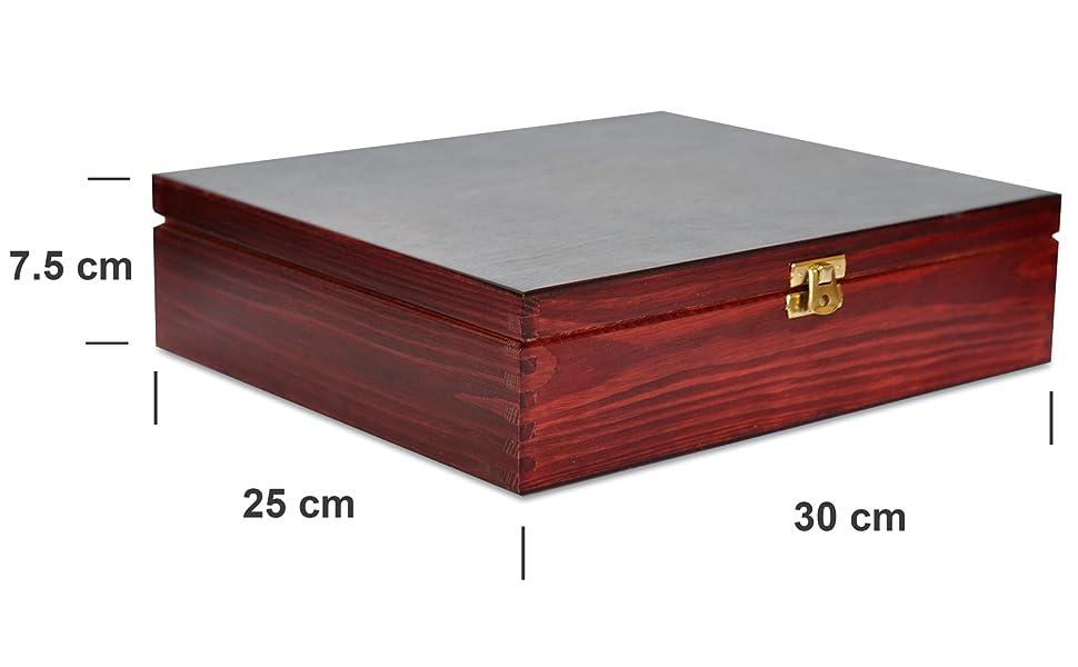 Rojo Caja para Té Bolsita Madera | 12 Compartimentos | 29 x ...