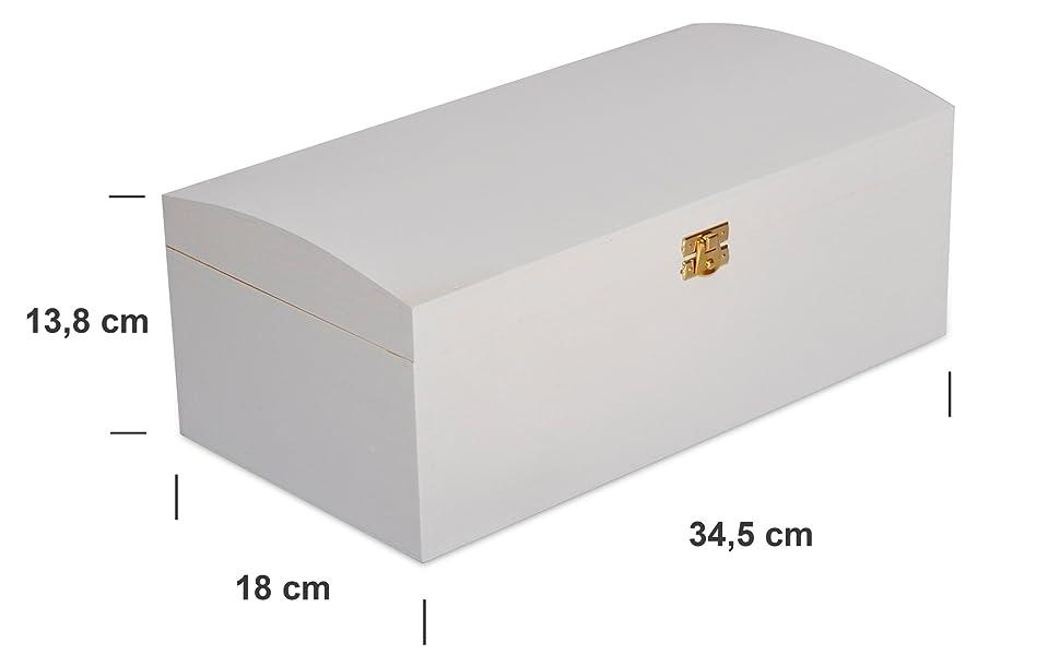 Creative Deco Blanco Grande Cofre Caja Madera   34,5 x 18 x 13,8 ...