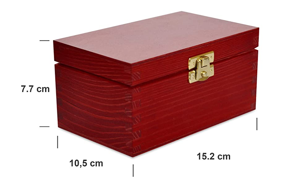 Rojo Caja para Té Bolsita Madera | 2 Compartimentos | 15,2 x ...