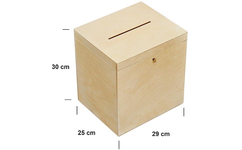 Creative Deco Boda Caja Madera | Cerradura y Llave | 29 x 25 x 30 ...