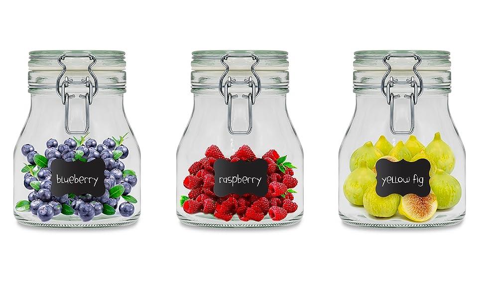Creative Home 8 x Tarros de Cristal Herméticos con Tapa | 8 x ...