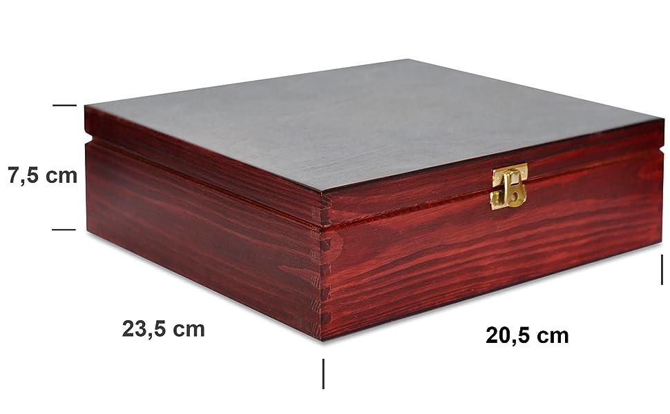Creative Deco Roja Caja para Té en Bolsitas Madera   9 Compartimentos   23,5 x 20,5 x 7,5 cm   Varias Medidas Disponibles   con Tapa y Cerradura   Ideal para Decoupage, Decoración y Almacenaje: Amazon.es: Hogar