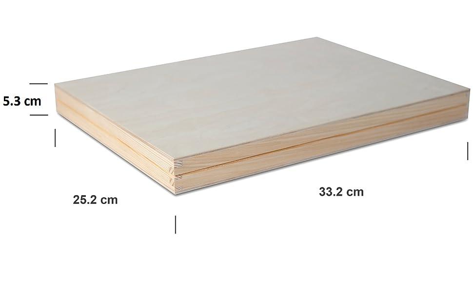 Creative Deco A4 Caja Madera para Decorar con Tapa | 33,2 x 25,2 x ...