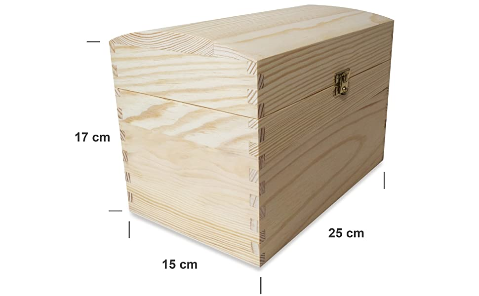 Creative Deco Cofre Caja Madera | 25 x 15 x 17 cm | con Cierre de ...