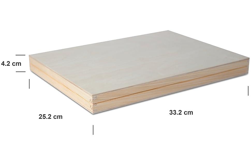 Caja de Almacenaje A4 de Madera Lisa sin Pintar