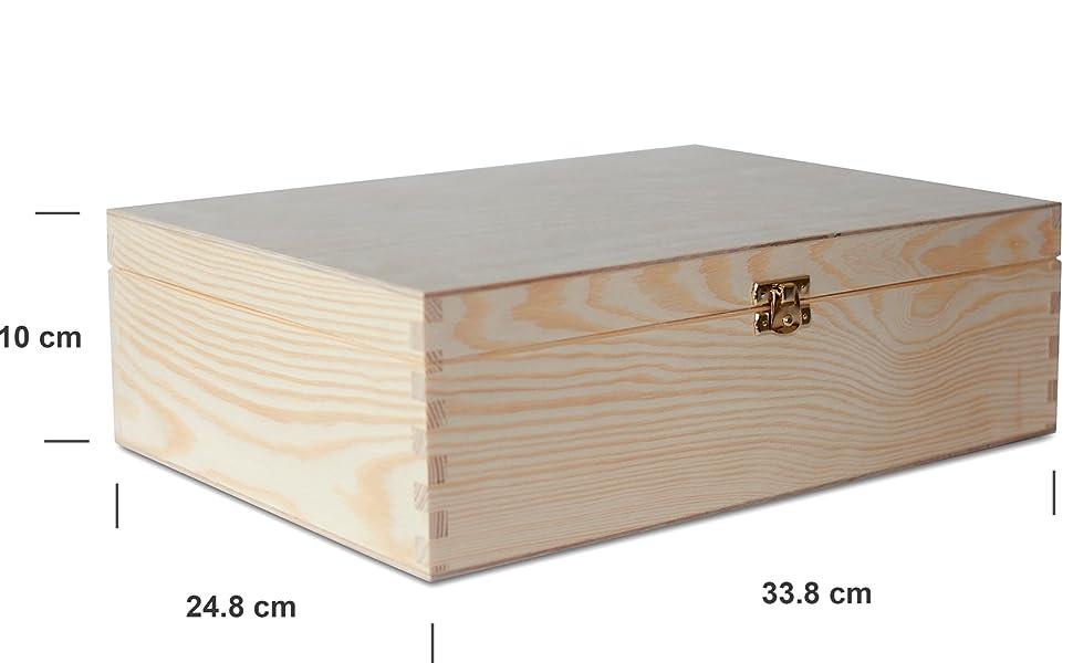 Creative Deco A4 Caja Madera para Decorar | 33,8 x 24,8 x 10 cm (+/- 1 cm) | con Tapa y Cerradura | Documentos Decoración Papeles Cartas Almacenaje Decoupage Herramientas Objetos de Valor Juguetes: Amazon.es: Hogar