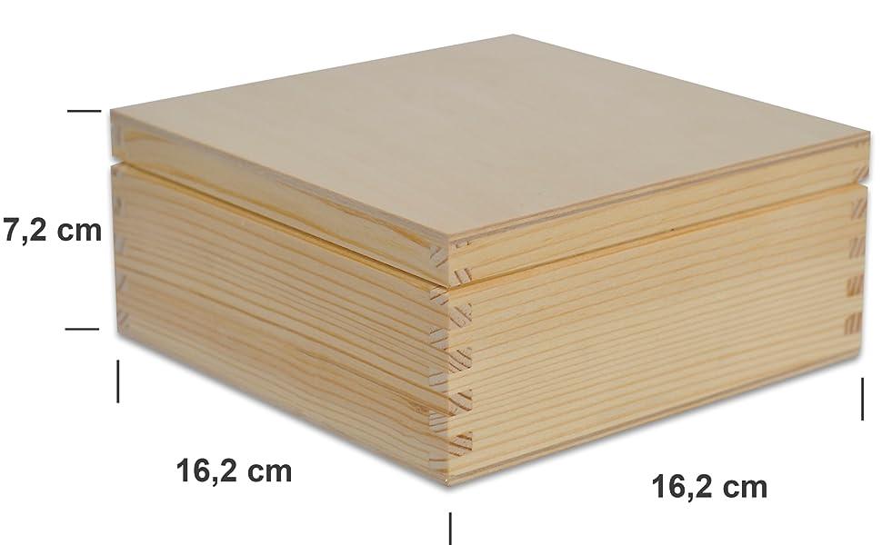 Caja de joyería cuadrada de madera