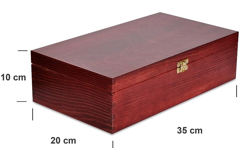 Creative Deco Rojo Caja Madera Vino Barnizada | 2 Botellas | 35 x 20 x 10 cm | Tapa y Bisagra | Divisores Extraíbles | Perfecta para Regalo Decorar Decoupage Almacenamiento Decoración Manualidades: Amazon.es: Hogar