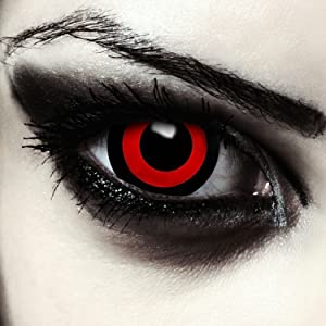 Mini sclera lentillas de colores negro y rojo para Halloween Saw ...