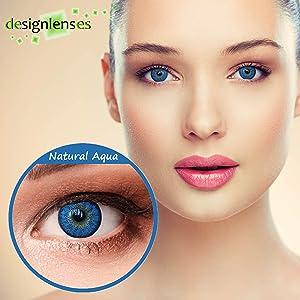 Contactos de color azul agua de aspecto natural sin lentes de contacto de potencia sin potencia