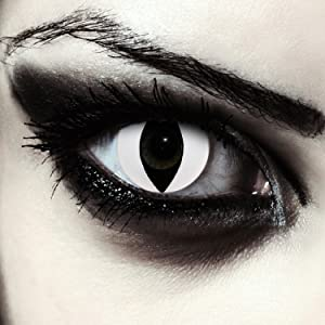 White colored cat eye contacts without power carnival halloween costume cosplay