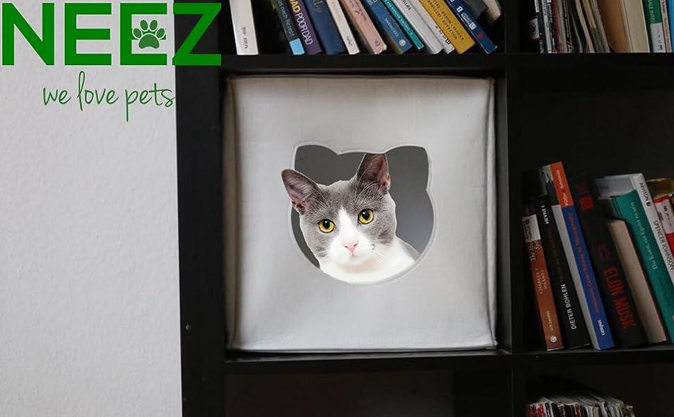 Cama de Gato by Incl. cojín | Casa de Gato Adecuada para IKEA Kallax & Expedit | Cueva Comoda en Gris óptica de Fieltro | Diseño Elegante y Moderno | ...