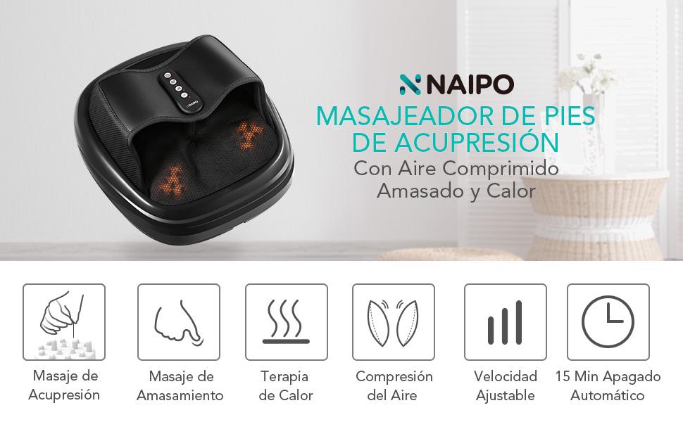 Naipo Masaje de Pies de Acupresión con Shiatsu Función de Calor Amasamiento Acupresión y Compresión de Aire para Hogar y Oficina