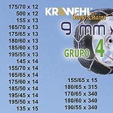 con Tensor Mec/ánico Grupo 5 Cadena de Nieve Tipo Rombo /Ø 9mm AZ.3402.0011055 KRAWEHL
