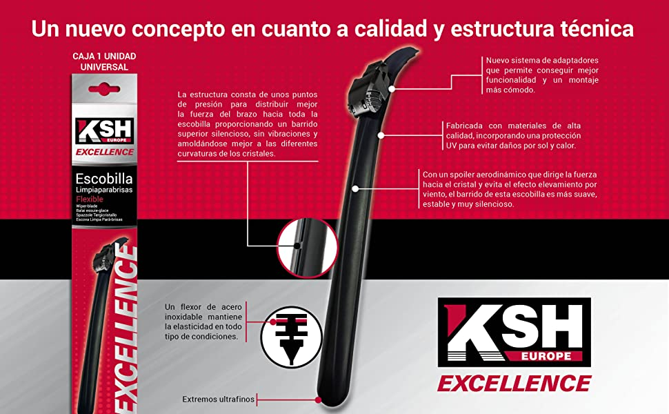 Escobilla Limpiaparabrisas Flexible - KSH Excellence 33 cm ...
