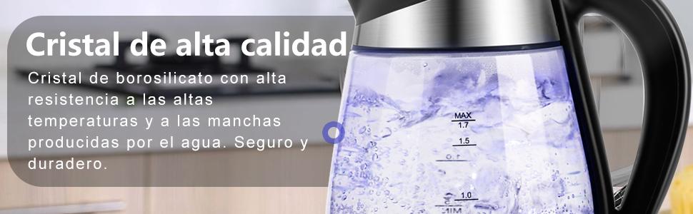 Aigostar Chubby 30LCZ - Hervidor de agua rápido de cristal, 1,7 litros, iluminación LED azul. 2200 W, apagado automático y protección contra la ...