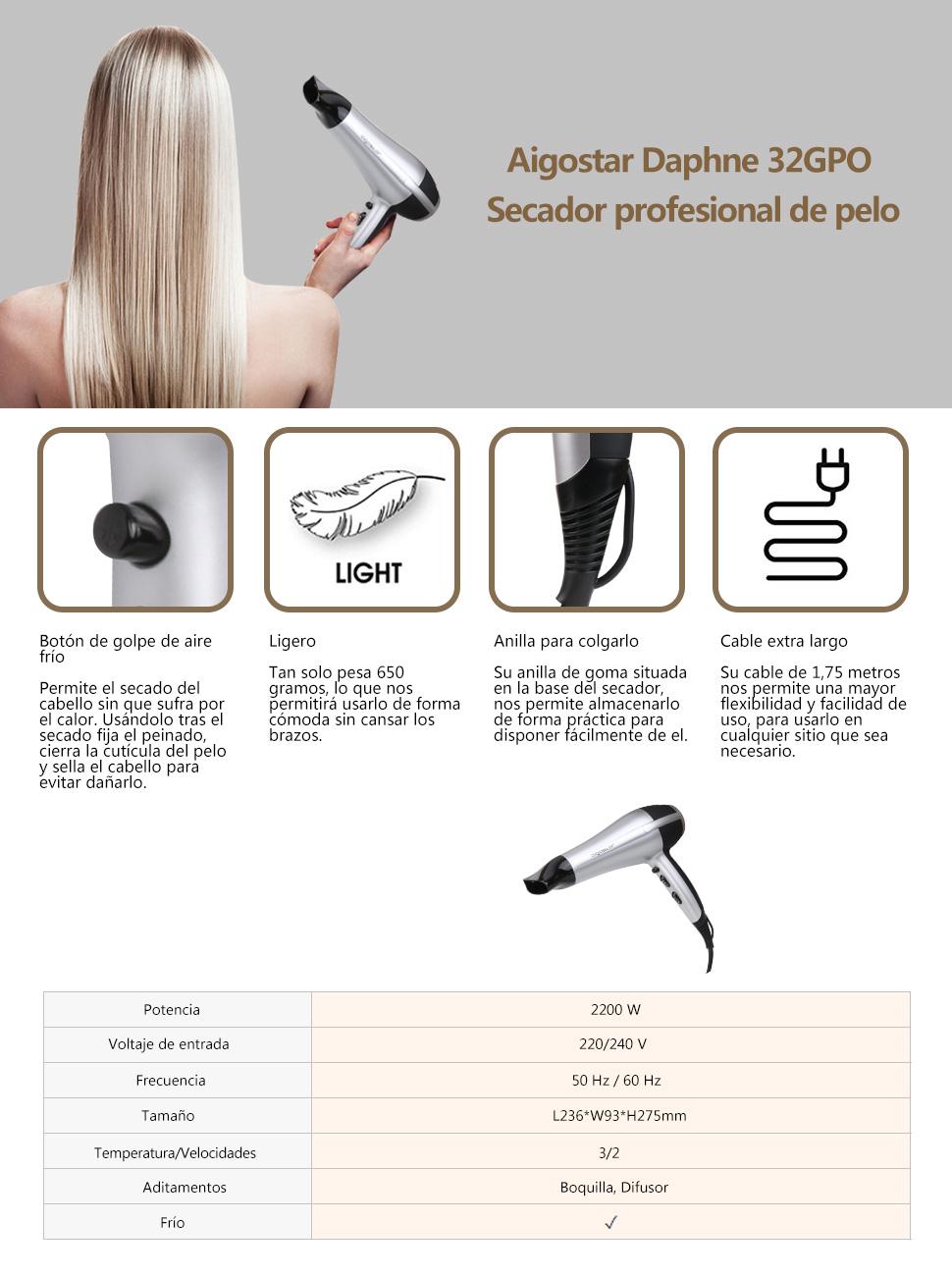 Aigostar Daphne 32GPO Sèche cheveux professionnel de