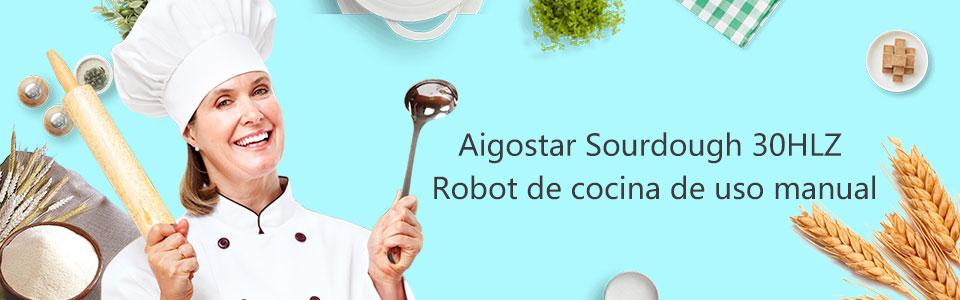 Aigostar Sourdough 30HLZ - Robot de cocina 2 en 1: robot de sobremesa multifunción y batidora de mano, 300W. 4L. Accesorios incluídos, 12 velocidades: amasa, mezcla, bate. BPA FREE. Diseño exclusivo.: Amazon.es: Hogar