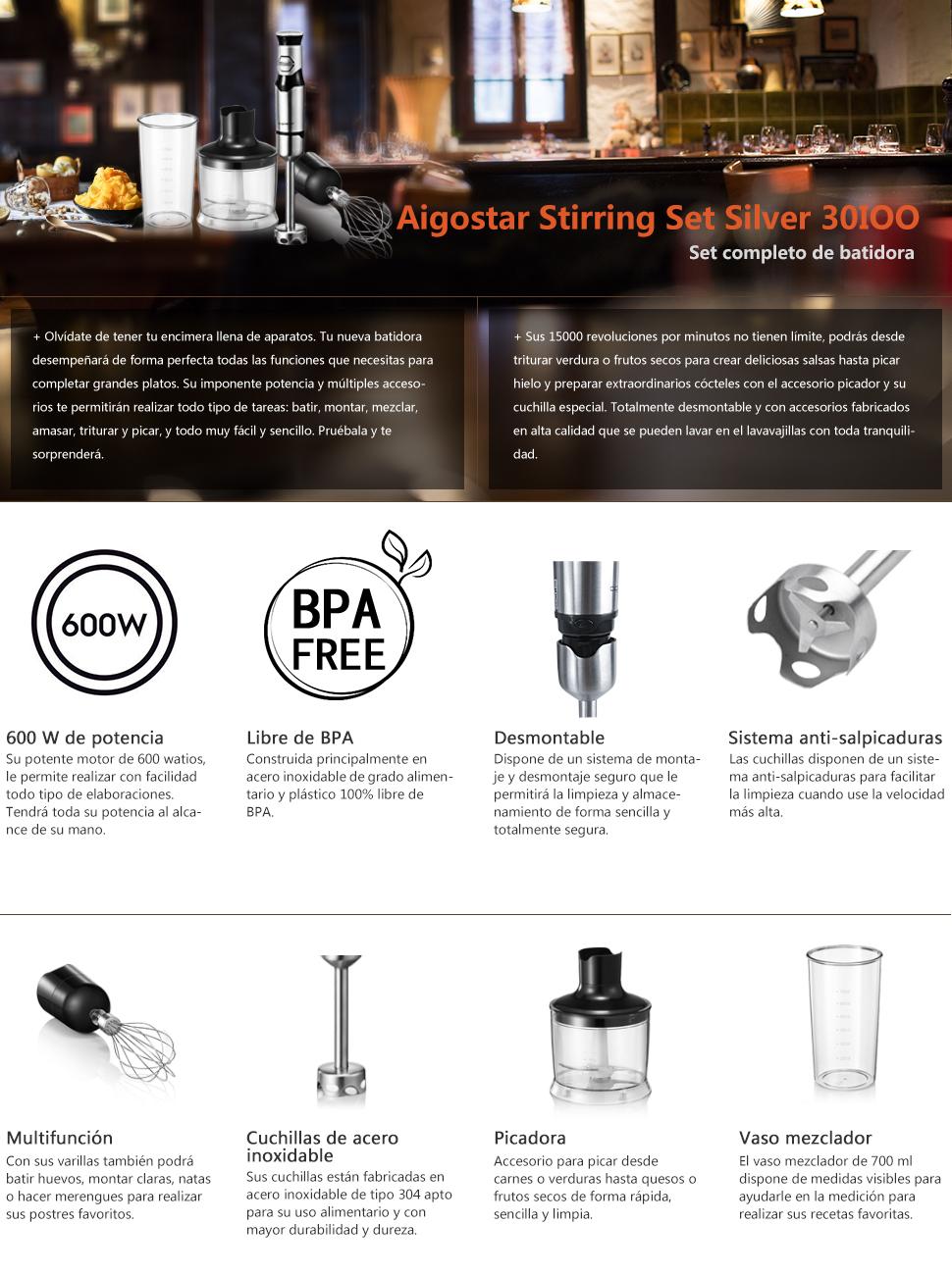 Aigostar Stirring Set Silver 30IOO - Set de batidora de mano, picadora y varilla mezcladora, 600 W, control graduable y dos velocidades. Libre de BPA, acero inoxidable tipo 304. Diseño exclusivo: Amazon.es: Hogar
