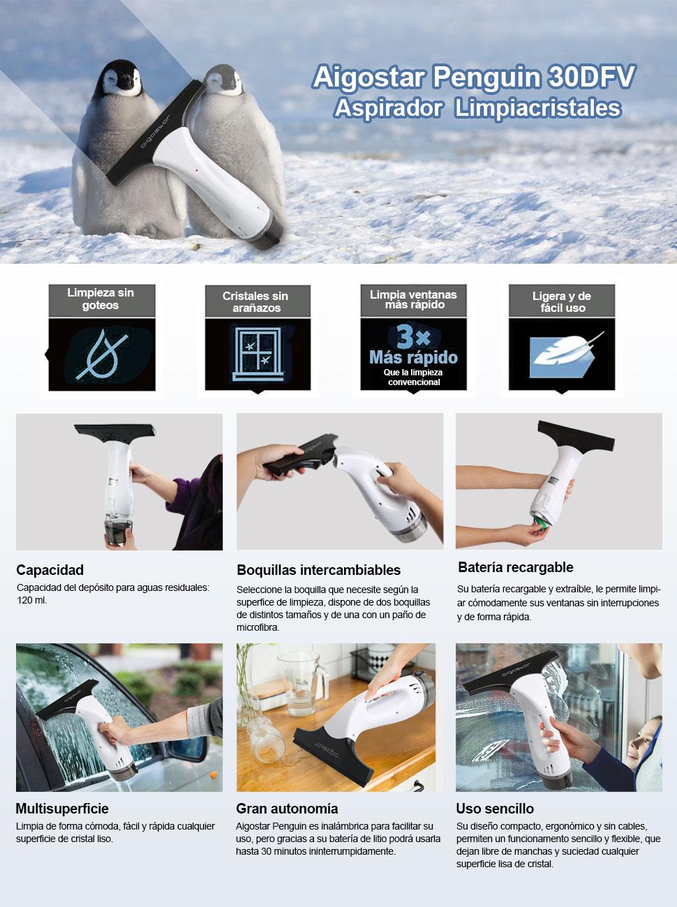 Aigostar Penguin 30DFV – 12W Aspirador limpiacristales especialmente diseñado para limpiar ventanas. Inalámbrico, incluye vaporizador, boquilla con paño de microfibra y aspiradoras intercambiables: Amazon.es: Hogar