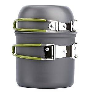 Overmont 2pics Kit de Utensilios de Cocina vajilla ollas Aprobado FDA para Camping Senderismo excursión al Aire Libre de Aluminio