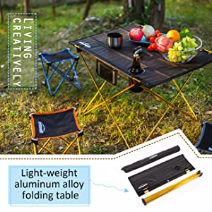 Overmont Mesa Tabla Plegable Portable de Aluminio Ultraligero para Camping jard/ín Senderismo Picnic Playa Viajes Pesca y Barbacoa M//L Bolsa de almacenaje
