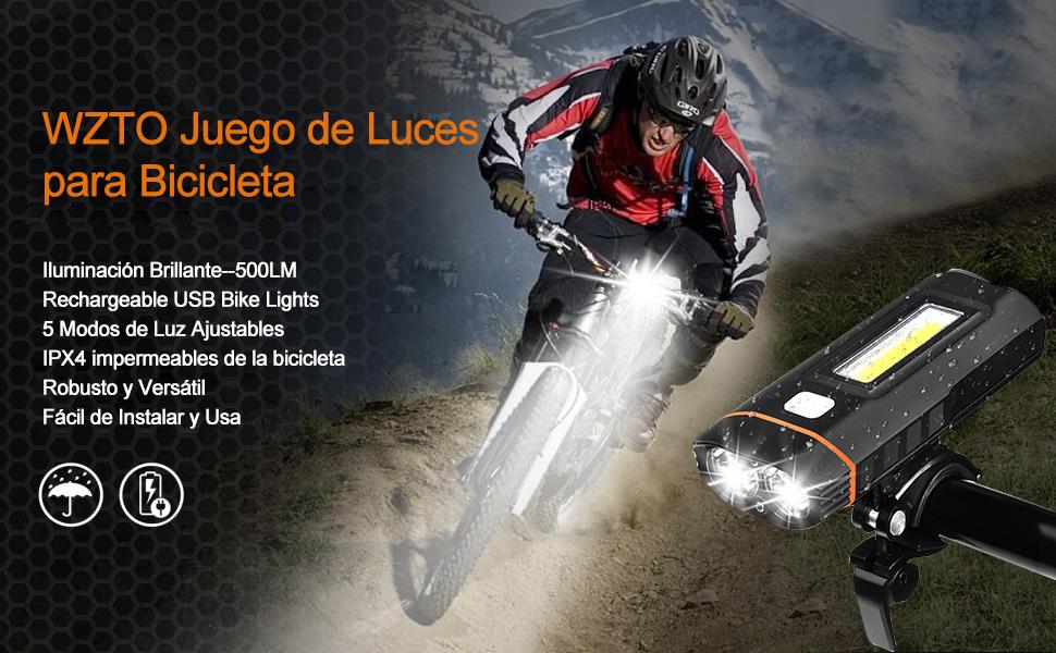 WZTO Juego de Luces para Bicicleta, 500 Lumens Lámparas LED para ...