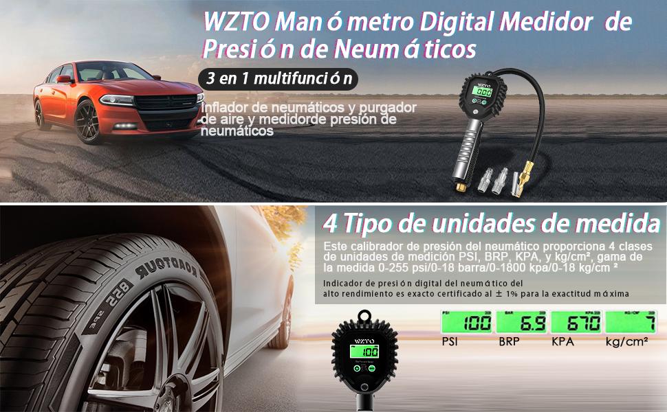 WZTO Manómetro Digital Medidor de Presión de Neumáticos - le permiten conducir con seguridad!